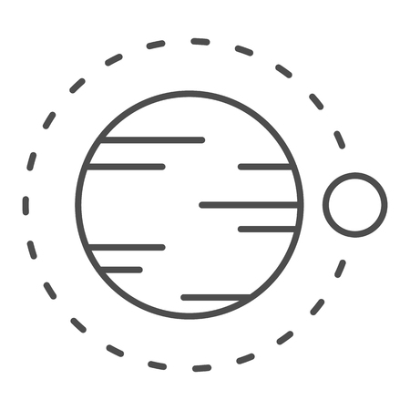 Satellite flying above planet thin line icon. Cosmos vector illustration isolated on white. Astronomy outline style design, designed for web and app.