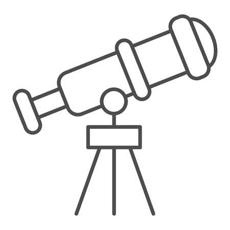 Telescope thin line icon. Spyglass vector illustration isolated on white. Ocular outline style design, designed for web and app. Eps 10