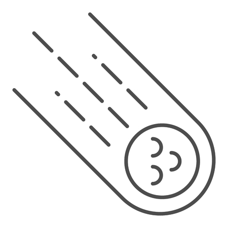 Comet thin line icon. Meteorite vector illustration isolated on white. Asteroid outline style design, designed for web and app.