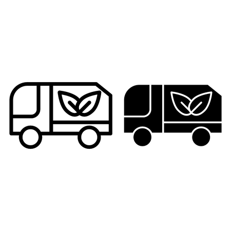 Eco truck line and glyph icon. Lorry with eco cargo vector illustration isolated on white. Car with eco sign outline style design, designed for web and app. Eps 10 Illustration