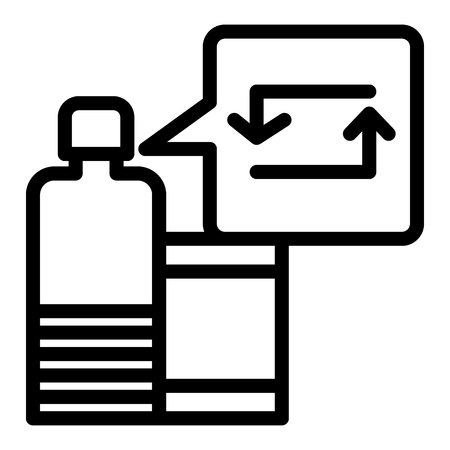 Recycling bottle line icon. Container with recycle sign vector illustration isolated on white. Tara with recycle sign outline style design, designed for web and app.
