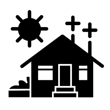 House on solar power solid icon. Solar energy home vector illustration isolated on white. Eco house glyph style design, designed for web and app. Eps 10 Vektorové ilustrace