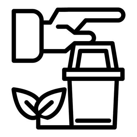 Human hands and pot with sprout line icon. Bucket and plant vector illustration isolated on white. Gardening outline style design, designed for web and app. Eps 10
