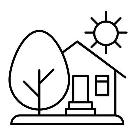 Countryside house, sun and tree thin line icon. House with tree and sun vector illustration isolated on white. Organic farm outline style design, designed for web and app. Иллюстрация