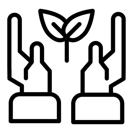 Hands and leaf line icon. Hands wih leaves vector illustration isolated on white. Eco symbol in hands outline style design, designed for web and app.