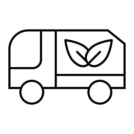 Eco truck thin line icon. Lorry with eco cargo vector illustration isolated on white. Car with eco sign outline style design, designed for web and app. Eps 10 Illustration