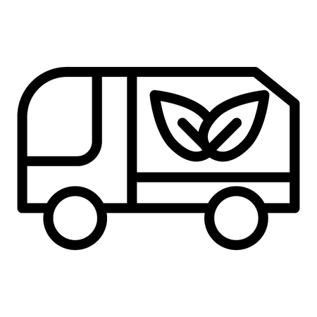 Eco truck line icon. Lorry with eco cargo vector illustration isolated on white. Car with eco sign outline style design, designed for web and app. Eps 10