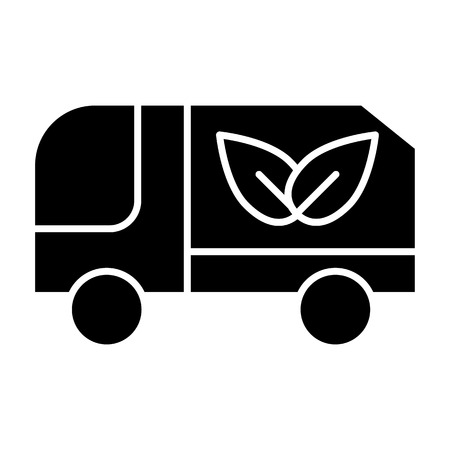 Eco truck solid icon. Lorry with eco cargo vector illustration isolated on white. Car with eco sign glyph style design, designed for web and app. Eps 10 Illustration