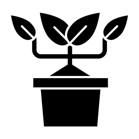 Plant in pot solid icon. Flowerpot with sprout vector illustration isolated on white. Growth glyph style design, designed for web and app. Ilustração