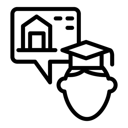 Hostel and graduate line icon. Graduate guy and dormitory vector illustration isolated on white. Student and accommodation outline style design, designed for web and app. Eps 10