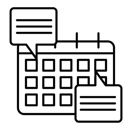 Calendar with speech bubbles thin line icon. Calendar with doings vector illustration isolated on white. Data planner outline style design, designed for web and app. Eps 10 Vetores