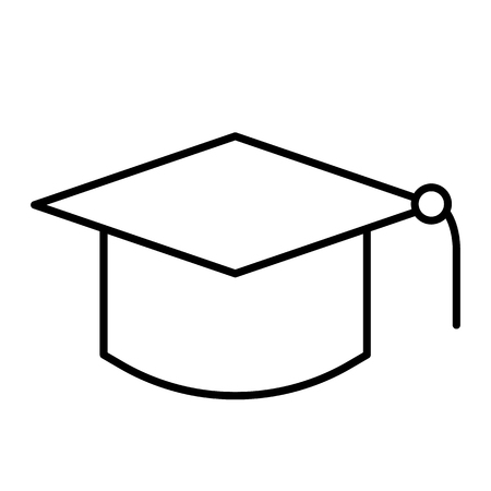 Graduate hat thin line icon. Education vector illustration isolated on white. Graduation cap outline style design, designed for web and app. Eps 10