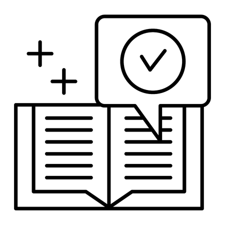 Checked notebook thin line icon. Verified notes vector illustration isolated on white. Notes with tick outline style design, designed for web and app. Eps 10 Ilustração