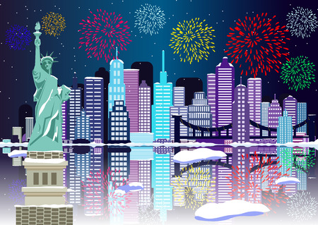 New Year background New York city with fireworks. Cityscape Building Line new york city and firework art Vector Illustration design. New York city and Liberty Statue with firework illustration..  イラスト・ベクター素材