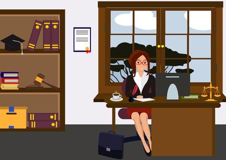 Abogada en su escritorio. Hermosa joven sentada en la mesa, trabajando con pc. Diseño lindo de dibujos animados. Estilo plano de empresaria. Ilustración de vector colorido