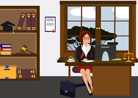 Woman lawyer at her work desk. Beautiful young girl sitting at the table, working with pc. Cartoon cute design. Businesswoman flat style. Colorful vector illustration
