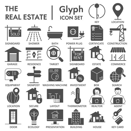 Realestate glyph SIGNED icon set, house symbols collection, vector sketches, logo illustrations, rent signs solid pictograms package isolated on white background