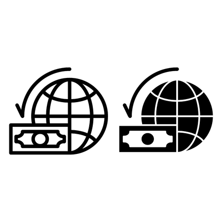 Dollar with world globe line and glyph icon. Money and planet vector illustration isolated on white. Global budget outline style design, designed for web and app. Illusztráció