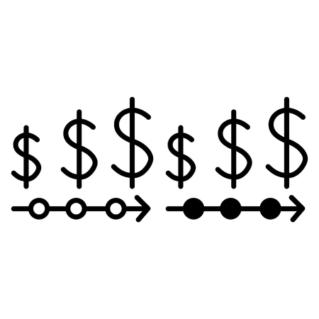 Currency rates line and glyph icon. Dollar rate vector illustration isolated on white. Finance outline style design, designed for web and app. Eps 10 Illustration