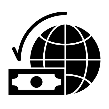 Dollar with world globe solid icon. Money and planet vector illustration isolated on white. Global budget glyph style design, designed for web and app.