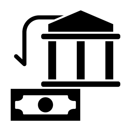 Bank building and dollar solid icon. Money vector illustration isolated on white. Finance glyph style design, designed for web and app. Eps 10 Illustration