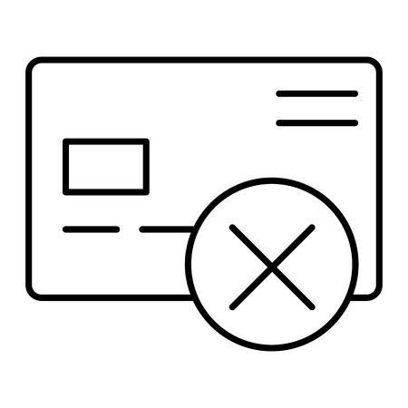 Cancel credit card thin line icon. Plastic card with cross vector illustration isolated on white. Wrong transfer outline style design, designed for web and app. Stock Illustratie