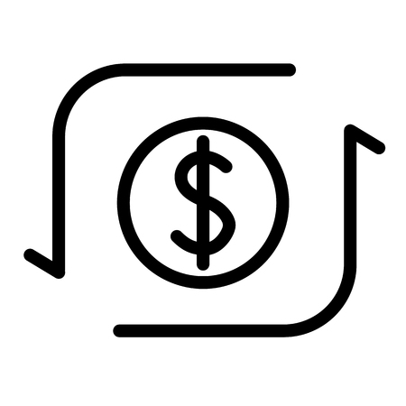 Money transfer line icon. Dollar sign with arrows vector illustration isolated on white. Dollar exchange outline style design, designed for web and app. Eps 10 Ilustrace