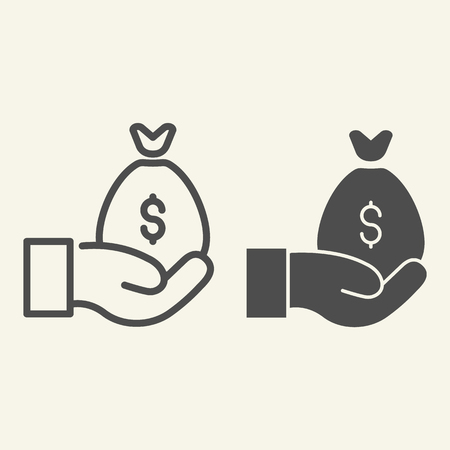 Money bag on the hand line and glyph icon. Cash bag in palm vector illustration isolated on white. Arm with savings outline style design, designed for web and app. Illustration