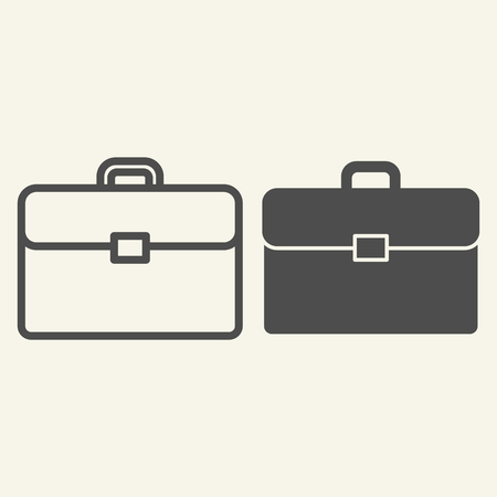 Briefcase line and glyph icon. Bag vector illustration isolated on white. Portfolio outline style design, designed for web and app. Eps 10