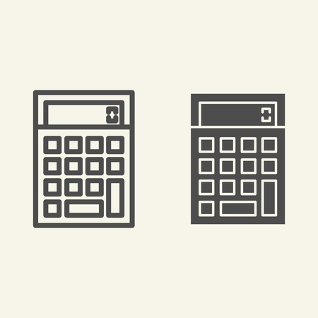Calculator line and glyph icon. Accounting vector illustration isolated on white. Calculate outline style design, designed for web and app. Eps 10