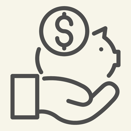 Save money line icon. Savings vector illustration isolated on white. Piggy bank in hand outline style design, designed for web and app. Eps 10