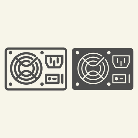 PC hardware element line and glyph icon. Uninterruptible power supply vector illustration isolated on white. Voltage outline style design, designed for web and app. Eps 10