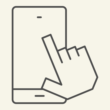 Smartphone with pointing hand thin line icon. Touch screen vector illustration isolated on white. Click on mobile screen outline style design, designed for web and app. Eps 10