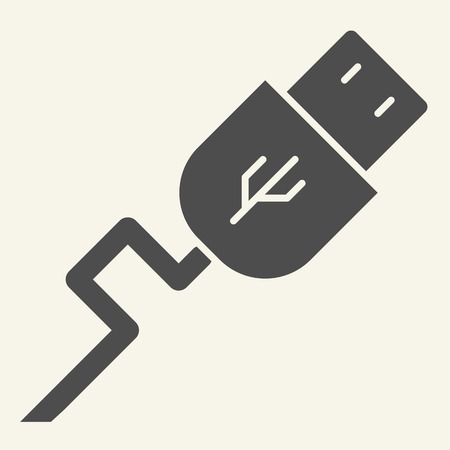 USB solid icon. Transfer vector illustration isolated on white. Cord glyph style design, designed for web and app. Eps 10