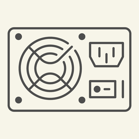 PC hardware element thin line icon. Uninterruptible power supply vector illustration isolated on white. Voltage outline style design, designed for web and app. Eps 10