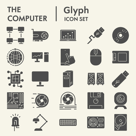 Computer glyph icon set, device symbols collection, vector sketches, logo illustrations, digital signs solid pictograms package isolated on white background