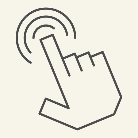 Pointer hand thin line icon. Hand cursor vector illustration isolated on white. Finger pointer outline style design, designed for web and app. Eps 10 Ilustração