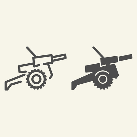 Cannon line and glyph icon. War vector illustration isolated on white. Weapon outline style design, designed for web and app.