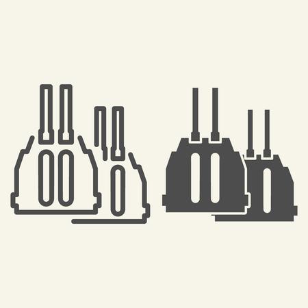 Ligne de canon à double canon et icône de glyphe. Illustration vectorielle de munitions isolée sur blanc. Conception de style de contour d'arme, conçue pour le Web et l'application.