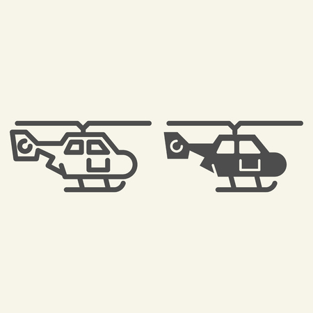 Helicopter side view line and glyph icon. Air transport vector illustration isolated on white. Chopper outline style design, designed for web and app. Eps 10