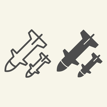 Rocket launch line and glyph icon. Weapon vector illustration isolated on white. Missile outline style design, designed for web and app. Eps 10