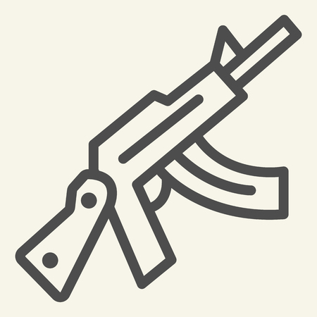 Automatic gun vector illustration isolated on white. Weapon outline style design, designed for web and app.