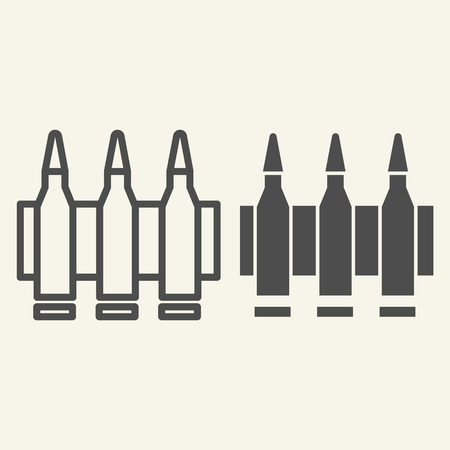 Ammunition line and glyph icon. Bullets vector illustration isolated on white. Cartridge outline style design, designed for web and app.