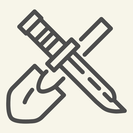 Shovel and knife line icon. Tools vector illustration isolated on white. Dagger outline style design, designed for web and app. Eps 10 Illustration