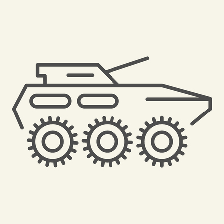Armored troop-carrier thin line icon. Armored vehicle vector illustration isolated on white. Artillery outline style design, designed for web and app. Eps 10 Vektorové ilustrace