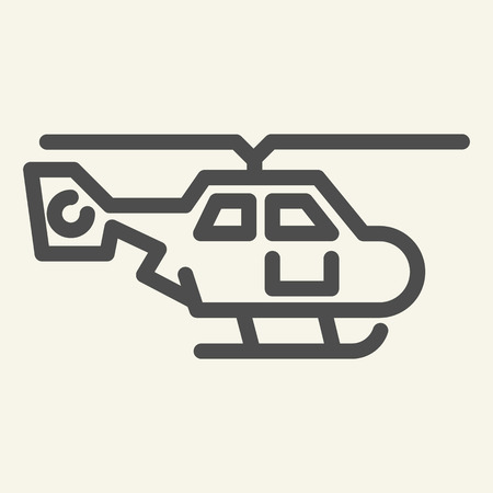 Helicopter side view line icon. Air transport vector illustration isolated on white. Chopper outline style design, designed for web and app. Eps 10