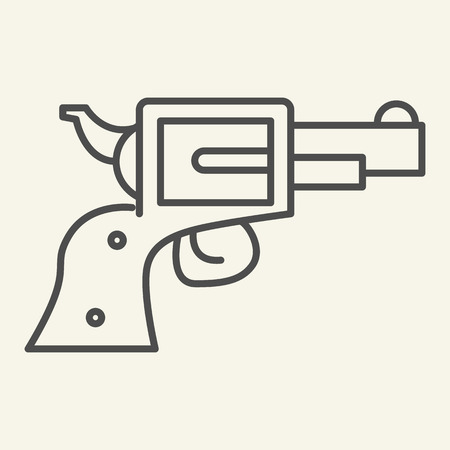 Pistol thin line icon. Revolver vector illustration isolated on white. Gun outline style design, designed for web and app.