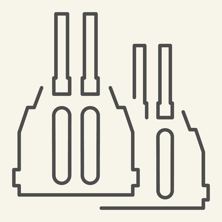 Icône de fine ligne de pistolet à double canon. Illustration vectorielle de munitions isolée sur blanc. Conception de style de contour d'arme, conçue pour le Web et l'application. Vecteurs