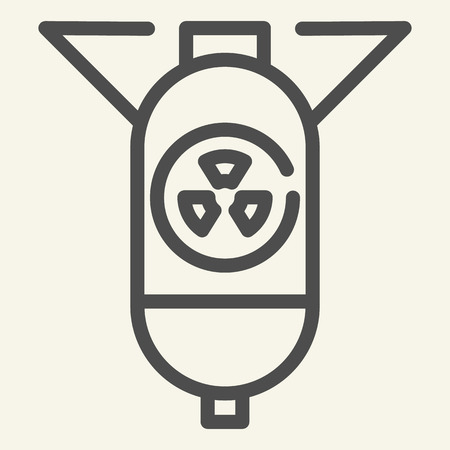 Nuclear warhead line icon. Atomic bomb vector illustration isolated on white. Warfare outline style design, designed for web and app. Eps 10 Illusztráció