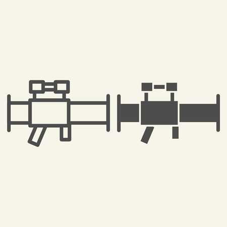 Bazooka line and glyph icon. Rocket launcher vector illustration isolated on white. Weapon outline style design, designed for web and app. Eps 10